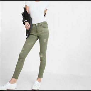 Express Army green distress ankle legging jean 4P